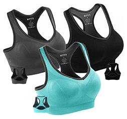 Fittin Womens Padded Sports Bras Wire Free with Removable Pa