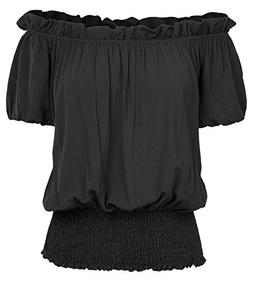 Kate Kasin Womens Renaissance Peasant Blouse Ruffle Pirate B
