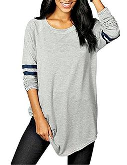 OURS Womens Round Neck Long Sleeve Jersey Shirt Loose Long T