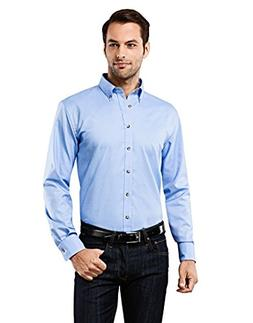 Vincenzo Boretti Men's Shirt Slim-fit Button-Down Collar Lig