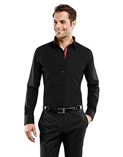Vincenzo Boretti Men's Shirt Slim-fit Non-Iron uni Contrasts