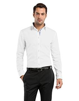 Vincenzo Boretti Men's Shirt Slim-fit Non-Iron uni contr Whi