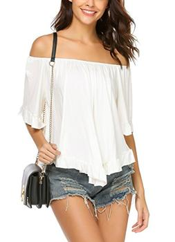 Women's Off Shoulder Tops Fashion Shirt Casual Strapless Blo