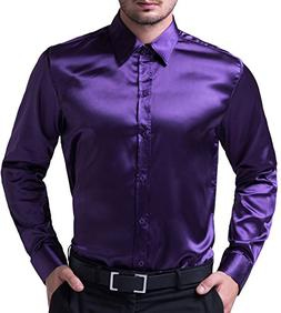 PAUL JONES Mens Silk Like Dress Shirts Luxury Purple