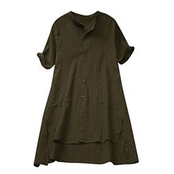 iDWZA Women Ladies Fashion Solid Asymmetrical Loose Tunic Bu