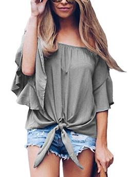 MAYBEYES Women's Solid Bell Sleeve Off Shoulder Blouse Top