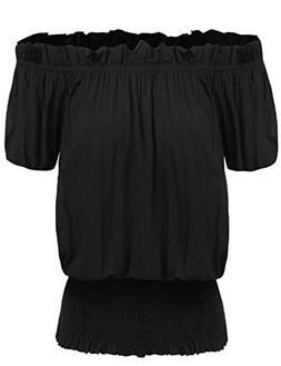 Zeagoo Women's Summer Off Shoulder Tops Ruffle Sleeve Blouse