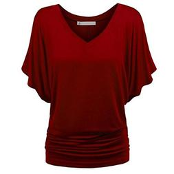 Syban T-Shirt Women Solid Causel Top Deep V Neck Blouse Plus