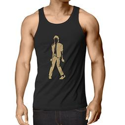 lepni.me Men's Tank Top I Love M J - King of Pop Party, 80