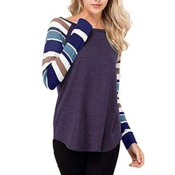 GREFER Women Tops Casual Autumn Striped Long Sleeve O Neck B