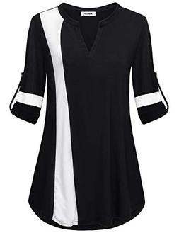 AxByCzD Tunics for Women Long Sleeve,Trendy Loose Contrast S