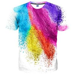 Yasswete Unisex Graphic tees, 3D Colorful Pattern Printed Sh