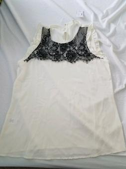 white tank top with black lace detail