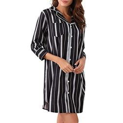Pitauce Women's Boyfriend Soft Sleep Shirt Dress Striped But