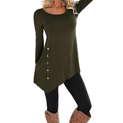 Alimao Women Lady Soft Long Sleeve Large Size Loose Button T