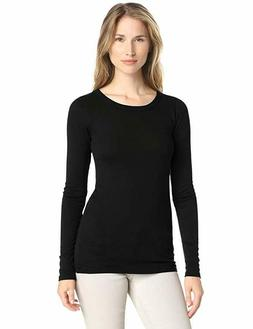 Michael Stars Women's Slub Long Sleeve Band Crew Tee Shirt,