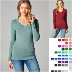 Women's Wide Band V-Neck Long Sleeve Jersey Top Soft Stretch