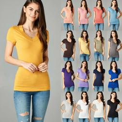 Women's Wide Band V-Neck T-Shirt Basic Short Sleeve Soft Str
