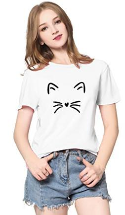 PINJIA Womens Cute Letter Printed Graphic Funny CAT FACE Tsh