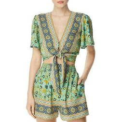Band of Gypsies Womens Green Front Tie Printed Crop Top Shir