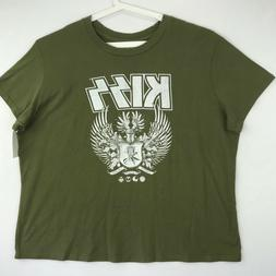 Kiss Womens Size 2X Graphic Band Tee Shirt Olive Green Short